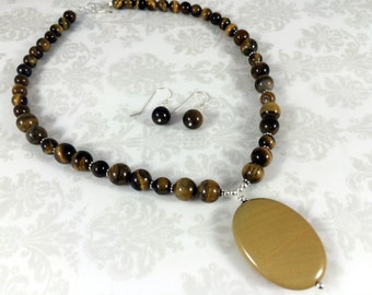 Yellow Jasper Gemstone and Tiger Eye with Sterling Silver Necklace and Earring Set -- One of a Kind