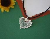 SALE Leaf Necklace, Heart Shaped Leaf, Silver Cottonwood Leaf, Real Leaf Necklace,Silver Cottonwood Leaf Pendant, SALE144