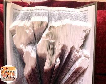 World Map Folded Book Art Pattern
