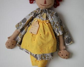 "Primitive decoration handmade rag doll ""Cookie Girl"""