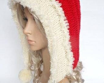 Santa Hat Adult Knit Oversized Christmas Elf Pixie Santa Hood Hat Chunky Pom Poms Red White