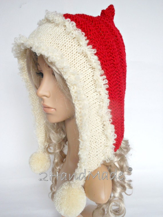 Santa Hat Adult Knit Oversized Christmas Elf Pixie Santa Hood
