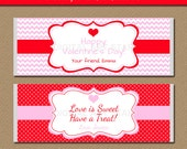 Valentines Day Chocolate Bar Wrappers - EDITABLE Printable Candy Wrappers - Pink Red Valentine Party Favors - Valentine Candy Wrappers PR