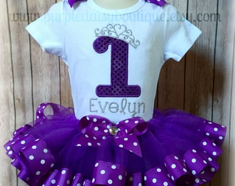 Purple Polka Dot Princess Birthday Ribbon Trim Tutu Outfit
