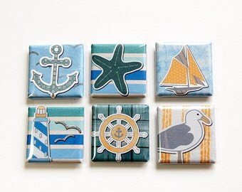 Sea Side Magnets, Beach Magnets, seaside, Magnets, Square Magnets, button magnets, Starfish, Seagull, Sailboat, Anchor, Lighthouse (4619)