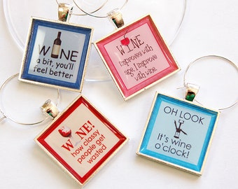 Funny Wine Charms, Wine Charms, barware, Wine Glass Charms, Wine a bit, gift for wine lover, wine oclock, Wine lover, Oenophilia (4683)