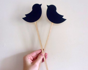 2 Chalkboard Cake Topper Love Birds, Table Numbers or Photography Props Chalk Board Signs on a Stick