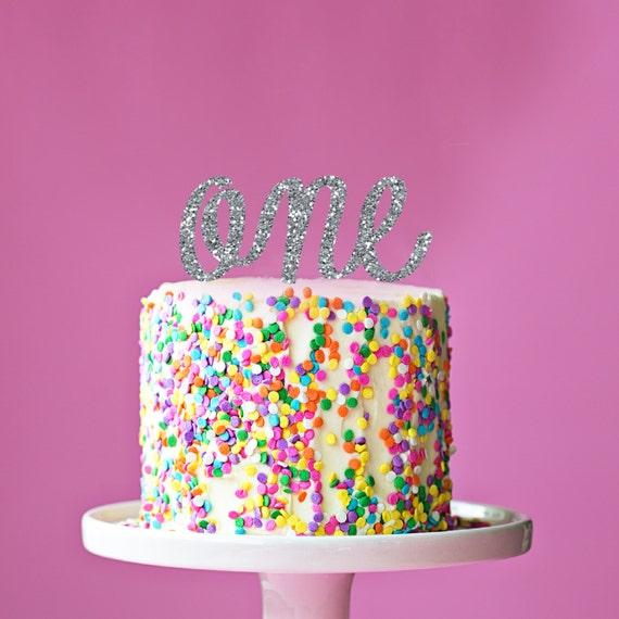 First Birthday Ribbon Silver Glitter By PinkPoppyPartyShoppe