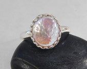 Pink Pearl Ring | Silver Crown Setting | Size 7  or Size 8 | Oval Shape