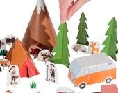 Camping Paper Toy - DIY Paper Craft Kit - Paper Toy