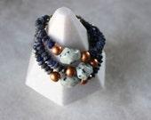 Copper + Gemstone Bracelet, Kiwi Jasper & Sodalite Stone Bracelet, Chunky Bracelet