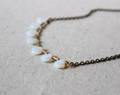 Opalite Teardrop Necklace, Brass Bar Necklace, Simple Necklace, Dainty Necklace
