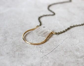 Crescent Necklace, Crystal Quartz Necklace, Raw Quartz Necklace, Half Moon Necklace