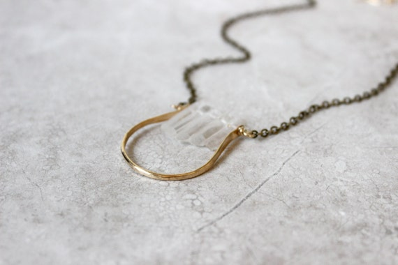 Crescent Necklace, Crystal Quartz Necklace, Raw Quartz Necklace, Half Moon Necklace