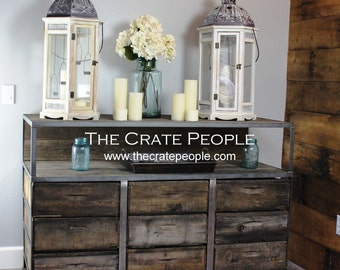 Reclaimed Barn Wood & Vintage Wood Crates | Buffet Table or TV Console -- Custom Made Crate Furniture2