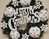 Pine Wreath with Snowmen & Snowflake Accents, Merry Christmas Wreath, Winter Holiday Decorations