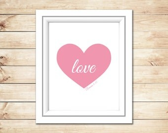 Instant Download Valentine Heart Printable Art, Love Heart Print, Wall Decor, Pink Heart, Bridal Wedding Shower Girl's Nursery Room Decor