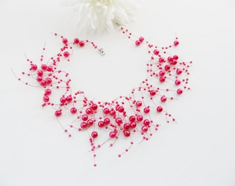 Pink Necklace - Airy Necklace- Floating Pearl Necklace Choker - Handmade Fashion Jewellry
