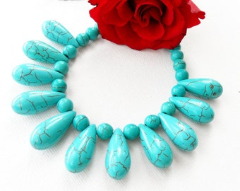 Gemstone Necklace - Turquoise Necklace - Teardrop Necklace Choker - Beaded Necklace