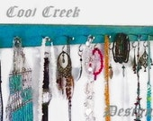 "Large 24"" Distressed Jewelry Hanger..Rustic Distressed Necklace Holder/Organizer..Closet & Kitchen Storage..Choose Your Color"