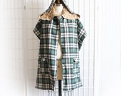 Scarf Poncho Shawl with Hood and Pockets Green Plaid Bohemian Leaves Print Upcycled Recycled Clothing