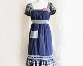 Blue Dress Plaid Lavendar Rosettes Embroidered Upcycled Bohemian Peasant Recycled Clothing Size Medium