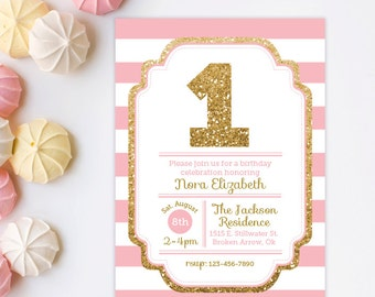 1st Birthday Invitation, Pink and Gold invitation, Gold Glitter Invitation, Girl Birthday Invitation, Printable invite, Kids birthday invite
