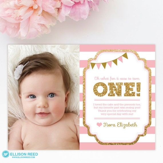 1st birthday thank you card 1st birthday thank you note pink
