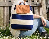 50% OFF Felt and leather BACKPACK / women's backpack / striped backpack / white and navy / wool felt / felt tote bag / made in Italy