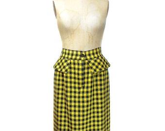 vintage 1980s CARLISLE plaid skirt / yellow black / wool / peplum waist / 80s skirt / pencil skirt / women's vintage skirt / size 12