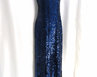 Vintage 70s womens dress gown sapphire blue royal blue holiday sequin backless sleeveless sexy fancy formal evening size 4 xs s
