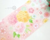 Taiwan Designer special order Custom made washi masking tape - Limited Edition pink Japan Pink Spring style Peony Handball Temari 1 ROLL
