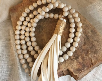 Ivory Mala Necklace with Leather Tassel