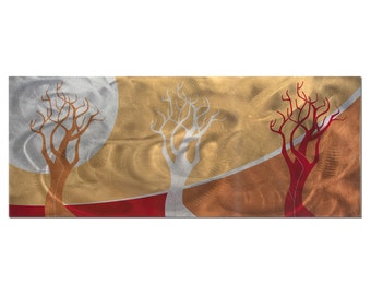Abstract Landscape Painting 'Golden Seasons' - Modern Tree Art - 3 Contemporary Trees in Warm Fall Autumn Colors - Urban Style Metal Artwork