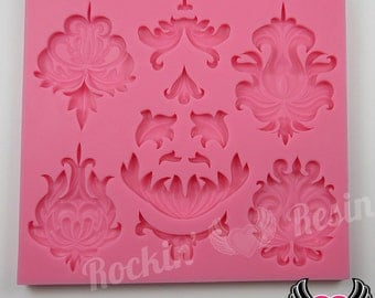DAMASK SILICONE MOLD, Food Grade, Flexible, Fondant Mold, Chocolate Mold, Candy Mold, Polymer Clay Mold, Resin Mold