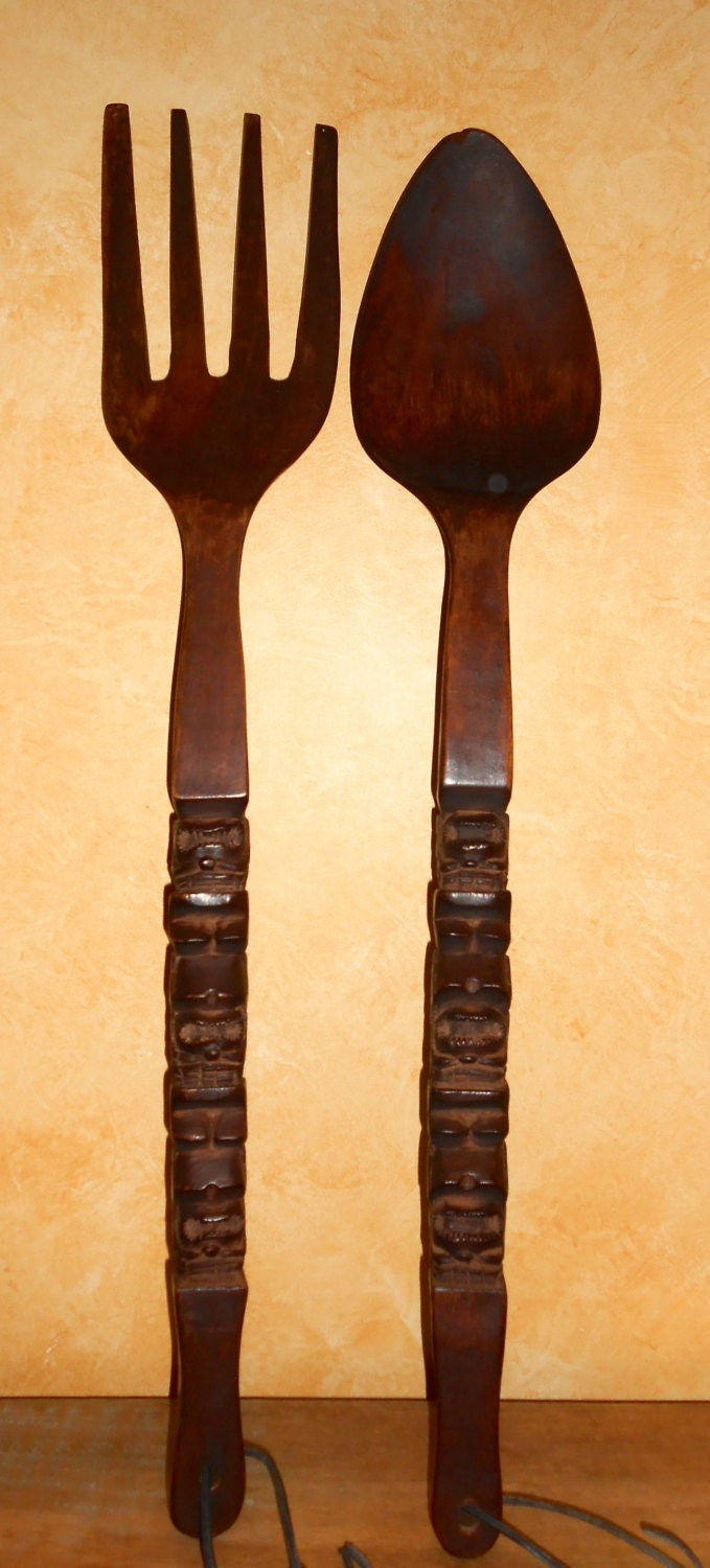 Large Fork And Spoon Wall Decor Vintage Retro Mid Century Large Giant Wooden Fork Spoon Wall