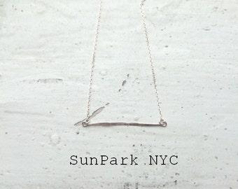 Delicate Hammered Silver Bar Necklace/Hammered Necklace/Sterling Silver Necklace/Geometric Necklace/Handmade Necklace/Dainty Necklace/