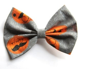 SALE - Sir Pumpkin Hair Bow - Gray Pattern Hair Bow with Pumpkins/Glasses/Mustaches/Glitter with Clip