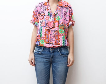Vintage pink playful colorful short sleeve women shirt / 80s abstract flower floral hipster summer neon