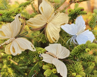 Christmas decoration, silver butterfly, golden butterfly, Christmas decor, silk butterfly hairclip