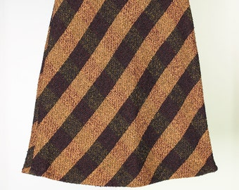 A-line striped vintage wool skirt // 90s // M size