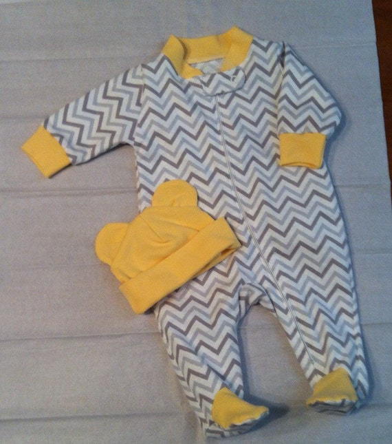 And grey chevron flannel sleeper with pale yellow trim amp matching bear