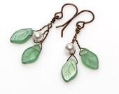 Light Green Glass Leaf Dangle Earrings, Green Twig Earrings, Green and White Beaded Earrings, Nature Jewelry, Faerie Earrings