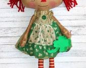 St. Patrick's Day Bridget Ann - Primitive Raggedy Ann Doll (HAFAIR)