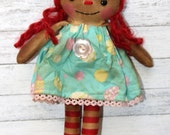 Easter Egg Annie Ornament Size - Primitive Raggedy Ann Doll (HAFAIR)