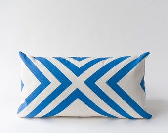 Final Sale! Monte Vista Pillow Cover in Blue - Modern Geometric Pillow Cover