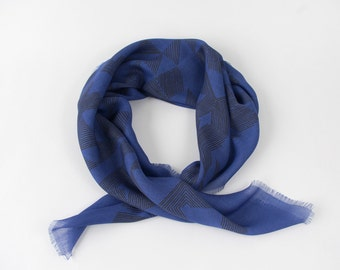 Sale! Cross Hatch Wool Voile Scarf in Black and Cobalt Blue - Geometric Printed Wool Scarf