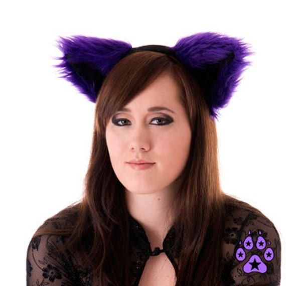 Pawstar Furry Kitty Cat Ears Costume Purple Color Theme FLUFFY MEW Ear HEADBAND 3051