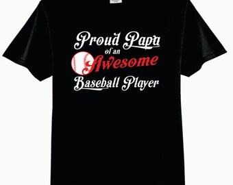 Proud PAPA of an Awesome Baseball Player Adult T-Shirt