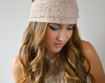 beige Lace Headband, Stretchy Wide Lacy Head Band